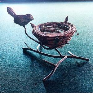 Verdigris Metal Bird on Branch w Woven Twig Nest